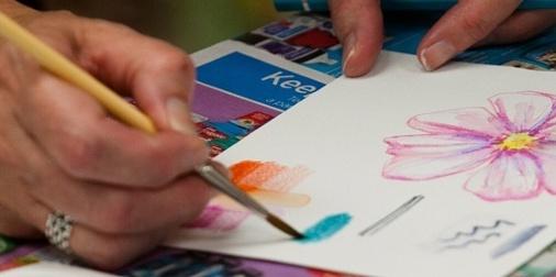 Artist painting watercolors